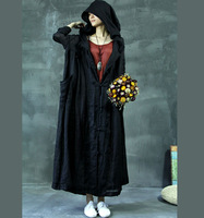 Original creation design black ultra-thin super large ultra long style with  hoodie loose soft linen large robe