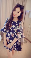Sweet New Arrive Off-shoulder Butterfly Sleeve A-line Dress with Floral Pattern Print Free Shipping A606-1009#