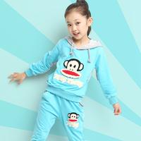 Female child autumn clothing 2014 3-10-12 girl long-sleeve autumn sports set kids clothes