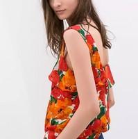 ST2218 New Fashion Ladies' elegant floral print ruffles Vest blouses bow tie sleeveless tops casual slim brand designer tops