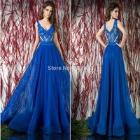 2014 Royal Blue A Line V Neck Appliqued Chiffon Floor Length Evening Long Maxi Dresses
