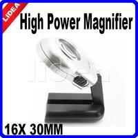 16X 2 LED Handle Folding Lens High Power Pocket Magnifier with Light CN F-45