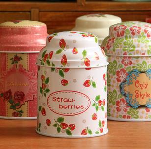 Frete grátis ! 3pcs / lot Jar linda flor Design Chá Tin caixa de armazenamento Tea Canister forma redonda Multi- Uso Canister(China (Mainland))