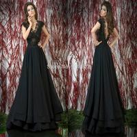 2014 Black V Neck Appliqued A Line Chiffon Evening Party Dresses Long Gown