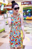 Fashion New 2014 women summer tops Fashion Dress womancolorful clothings free shipping LYQ008-21