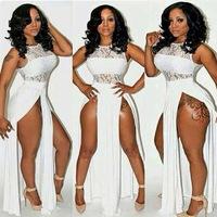 New Summer Dress 2014 Fashion Lace Maxi Dress Tank Slit on The Sides Long Bandage Dress White,Black Women Party Dresses