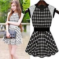 New lace dress sleeveless round collar grid female waist lace vest dress