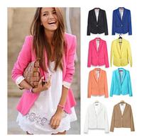 Blazer Women Feminino New 2014 Candy Color Jackets Suit One Button Slim Yellow Ladies Blazers Work Wear Blaser Feminino   #C0818