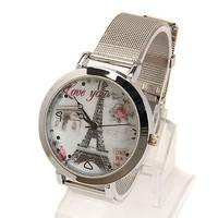 New Fashion The Eiffel Tower pattern simple design electronic quartz watch Women dress Watches