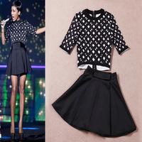 2014 autumn  winter women's European Style Brand Designer Geometric print black shirt + pleated skirt suit girl's suit