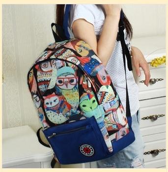 2014 новые школьные сумки для подростков совы mochila ёенщин печать холст рюкзак мужская дорожные сумки бесплатная доставка