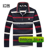 Italy brand men's lapel stripes long sleeve men's t-shirt business casual brand shirt Shar-60