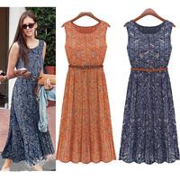 summer fashion long dress sleeveless chiffon slim waist midguts women dress