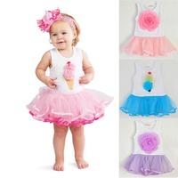 New Toddler Girls Tank Dress Cotton Florals Pattern Tutu Dress Yarn Dress 0-4Y Dropshipping Freeshipping