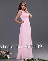 custom made romantic pink bridemaid dress with flower plus size long chiffon dress free shipping