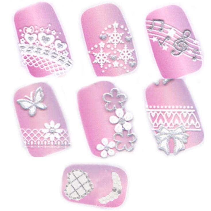 New Nail Art Stickers Decal Silver Lace Snowflakes Heart Bow Music Pink Crystal Pattern Nail Decoration NA-00556-619(China (Mainland))