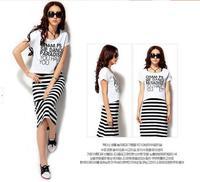 2014 New Fashion Ladies' elegant striped dress O-neck Two-piece Dresses vintage casual slim quality designer women summer dress