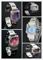 Women's Fashion sport Hello Kitty rhinestone flower bow quartz student Watch WA042
