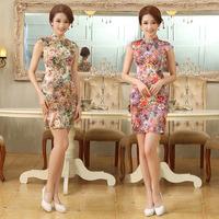 New Improved Summer Fashion Printing Temperament Slim Short Dress Retro Cheongsams LF347