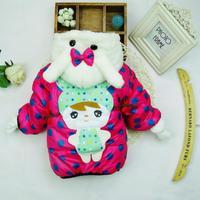 Winter Coat Baby Girls Warm Coat Big Dot Printed Hooded Zipper Style Children's Jacket Free Shipping K8027