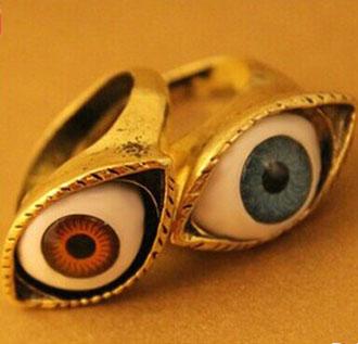 36Pcs/Lot, Free Shipping, Wholesale, Vintage Europe Punk Exaggerated Bule Evil Eye Rings,  2 Colours.(China (Mainland))