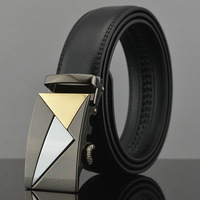 2014 New Fashion Luxury Design Genuine Cow Leather Strap Automatic Buckle Waistband Business Casual Belts For Men GBT57