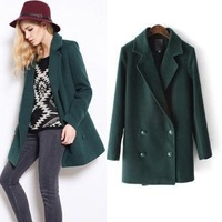 2014 winter coat women Classic women's double-breasted long women coat wool coat jacket