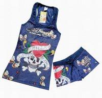 Free Shipping Skull Lady Tank Tops With Shorts, Fashion Casual Comfortable Shorts