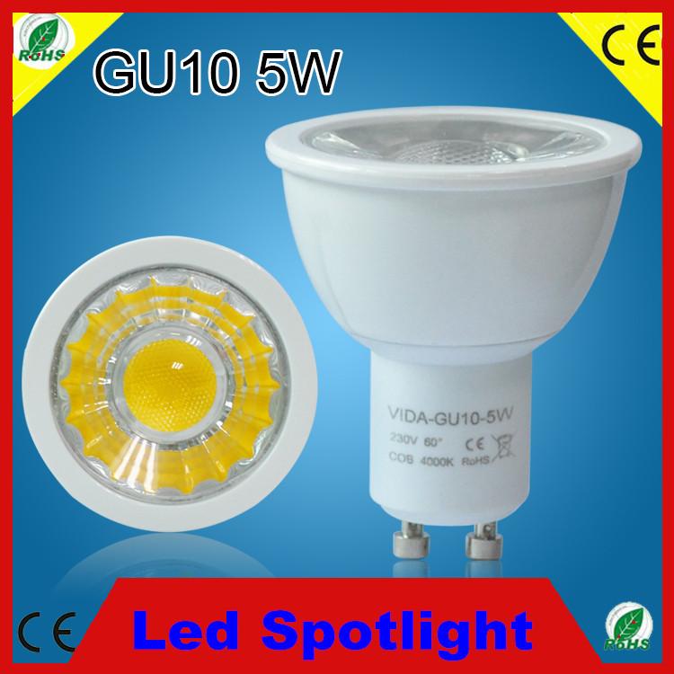 50PCS Dimmable Led COB Lamp 5W GU10 110-240V White plastic Aluminum Spotlight led bulb down lighting Little heat generation(China (Mainland))