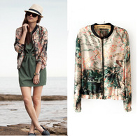 2014 New Fashion Jacket Women Elegant Coat Chinese Monochromes Floral Print Jackets Oil Print  O-neck Long Sleeve Outwear  C0859