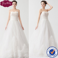 Goingwedding Real Sample  A-Line Sweetheart Tulle Pleated Corset Bodice Ruched Train Wedding Dress With Feathers NW24063