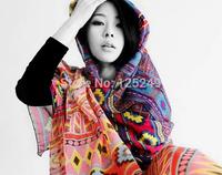2014 Desigual Scarves 4 color Fashion Gradient Voile Cashew Flower Print Tribal Aztec Scarf Muslim Hijab Long Women Scarf Shawl
