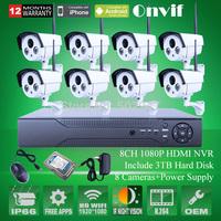 8CH Onvif  H.264 NVR System 2.0 MegaPixel 1080P HD Network Wireless WIFI IP Camera Array IR Outdoor 3TB HDD
