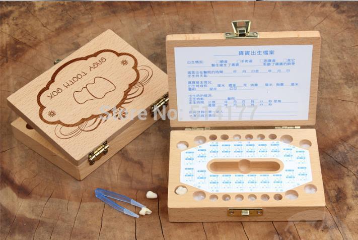 Free shipping Retail 1pc handmade wooden Baby Tooth Case Album,baby Birthday Gift,Children's teeth preservation box Lanugo-box(China (Mainland))