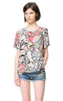 New irregular hem flower printed cotton shirt Spring Summer fall women lady