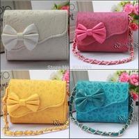 2014 new Children's KT print Handbags with bow girl's messenger bag girls gift