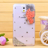 Butterfly bling cover For samsung galaxy note3 N9000 NoteIII rhinestones cell phone case 1pcs