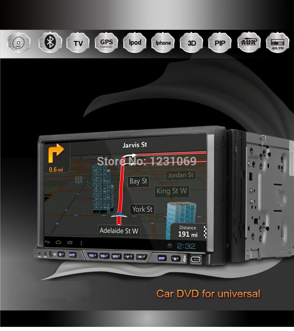Free shipping!!! 2 DIN universal GPS car DVD 7 inch touch screen+radio+ATV+Bluetooth+3D UI+free GPS map+IPOD(China (Mainland))