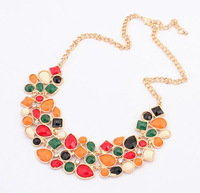 Summer Dressing Party Hot Sale New Style Golden Long Chain Handmade Colorful Beads Broad Pendant Multi Chains Bib Necklace 642