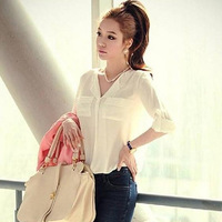 new women shirts spring clothing foreign trade blouse leisure long-sleeved chiffon unlined upper garment