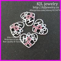 30pcs Fashion Jewelry Accessories Pink rhinestone Ribbon breast cancer Awareness Hope Letter Heart Charm Pendants