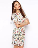 2014 New Fashion women sexy elegant short sleeve backless dress Lady slim brand club party dresses high quality#J213