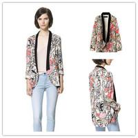 2014 New Women Vintage Flower Print  Fashion Floral Blazer Suits For Women Desigual Brand Basic blazer Feminino      #C0809