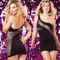 Hot One-shoulder Fun Ladies Dress Temptation Sexy Lingerie Mesh Bodysuit Women Club Wear Black Rose
