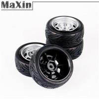 4X 1:10 Flat Racing On-Road Flating Car Toy HSP HPI RC Cars Plastic Wheel Rim Hub Rubber Tire Type 11083-21006