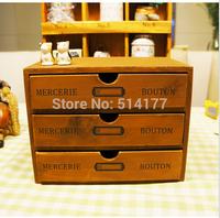 new arrive Retro style Zakka vintage wooden three drawers storage cabinet solid wood jewelry box  finishing storage box