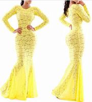 New Fashion Summer Sexy Dress 2014 Sexy Lace Yellow Swallowtail Stunning Bandage Bodycon Dress Hollow Out Lace Dress Vestidos