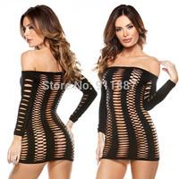 Hot Fashion Sexy Women Lingerie Off The Shoulder Long Sleeve Mesh Bodysuit For Club Black Blue