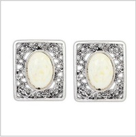 square stud earring with bright color oval resin in heart earring  for lady dress earring jewelry accessories   81