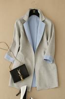 Beautiful color block roll up hem sleeve overcoat wool blending outwear